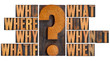 questions in letterpress wood type