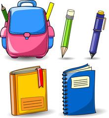 Мультфильм школьные ранцы, карандаши, книги, тетради, ручки