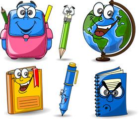 Мультфильм школьные сумки, книги, тетради, ручки, миру