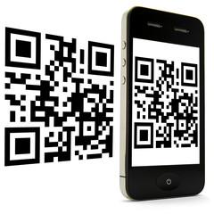 Smartphone mit 2 x 2D Code stehend