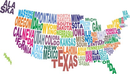 USA state map word cloud