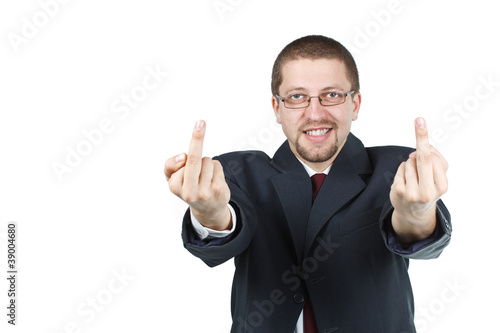 Businessman showing up both middle fingers