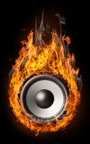 "Burning speaker - ""music style"" background"