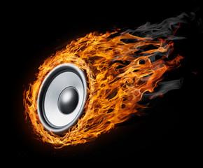 "Burning speaker - ""music style"" background"
