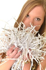 woman with shredded documents
