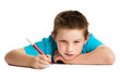 Boy with pen.