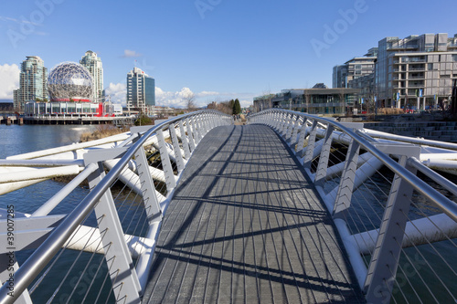 Pedestrian bridge at False Creek Olympic Village Shoreline Park