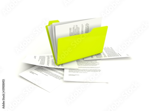 Folder with files isolated on white