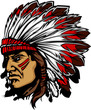 Indian Chief Mascot Head Vecto...