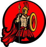 Greek Spartan Trojan Vector Mascot with Spear and Shield poster
