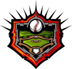 Baseball Field with Baseball Vector Image Template.Baseball Fiel