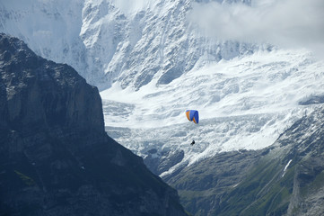 Hang glider against glacier on Wetterhorn