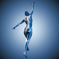 Silhouette junger Frau mit Skelett