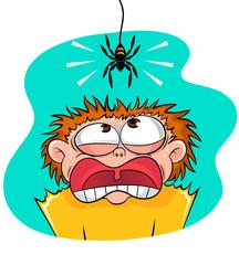 boy scared of spider