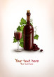 Background with bottle and glass with wine