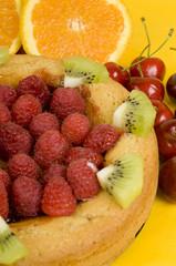 Soft cake with raspberries