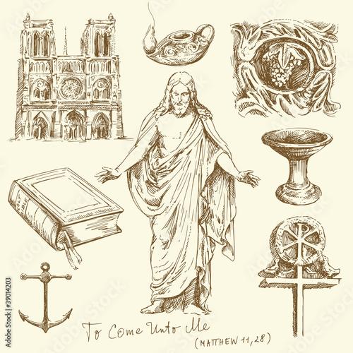 religion, christianity - hand drawn set