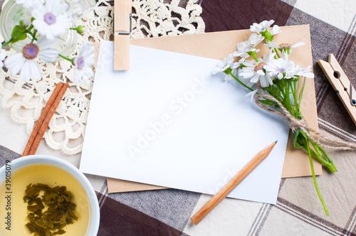 empty cardboard card with flowers