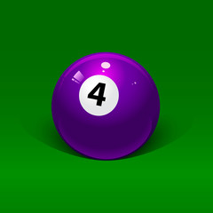lavender billiard ball number four on a green background