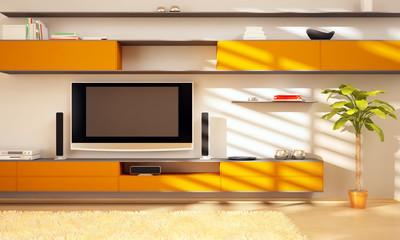 High resolution 3D render orange interior