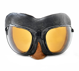 Pilot goggles, retro aviation glasses isolated