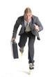 Hombre de negocios al trabajo patinando