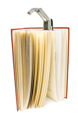 Travel book lamp on red hardcover book