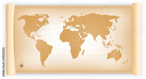 Staande foto Wereldkaart Vintage World Map On Parchment Scroll