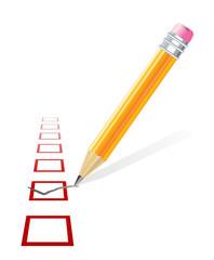 check mark and pencil