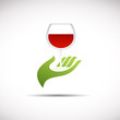 Logo serve a glass of wine # Vector