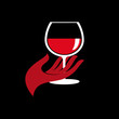 Logo drink a glass of wine # Vector