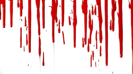 Blood dripping down over white