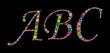 letters on black background