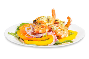 Salad with shrimp, mussels, bell peppers and onions.