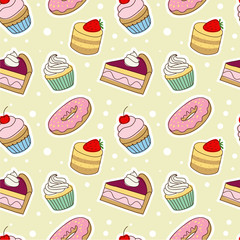 Seamless pattern with tasty doodle cakes