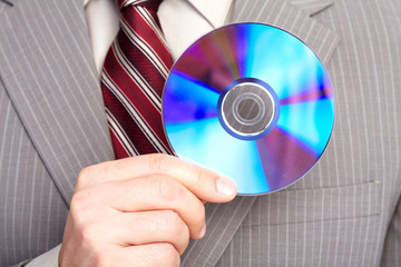 Businessman with a CD.