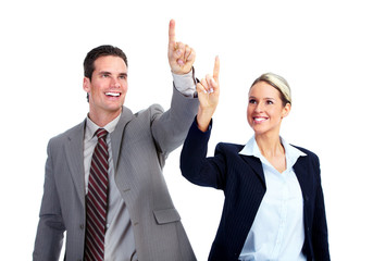Businessman and woman touching copyspace.