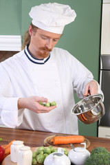 Young Chef with Brussels sprouts