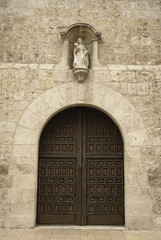 Door to  Santa Clara church, Valladolid, Spain