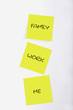 Three sticky notes with text
