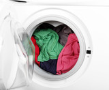 Washing machine with clean colorful clothes