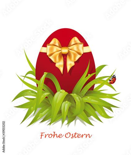 Osterei mit goldene Schleife