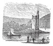Mouse Tower in Rhine Bingen am Rhein Germany vintage engraving