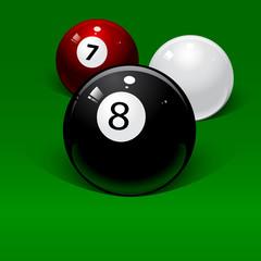 three billiard balls on a green background