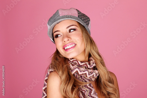 Fashion Model In Winter Accessories