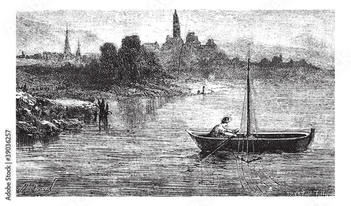 FIG. 102. - Fishing for trout has an otter, vintage engraving.
