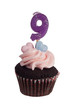 Mini cupcake with number nine candle