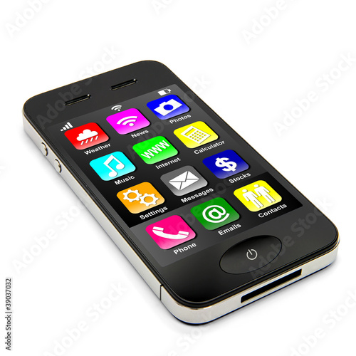 Smartphone liegend mit Apps