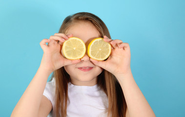 Funny girl with lemons