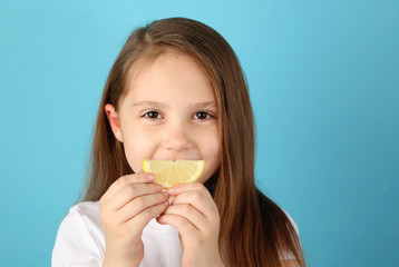 Girl with lemon smile